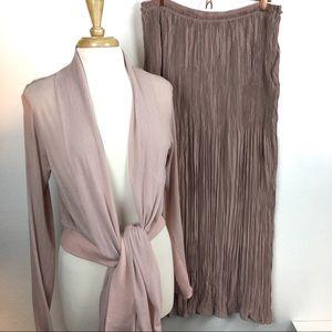 Soft Nude Pink 2-piece Skirt Kimono Set Victorian